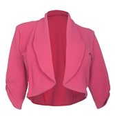 Plus Size Open Front Cropped Jacket Hot Pink