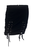 Plus Size Lace Up Mini Skirt Black 19618